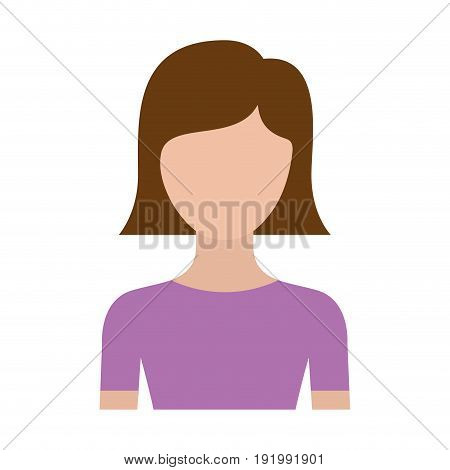 colorful silhouette faceless half body young woman with straight short hairstyle vector illustration