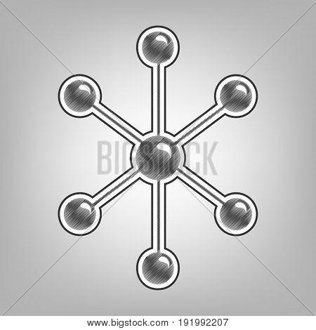 Molecule sign illustration. Vector. Pencil sketch imitation. Dark gray scribble icon with dark gray outer contour at gray background.