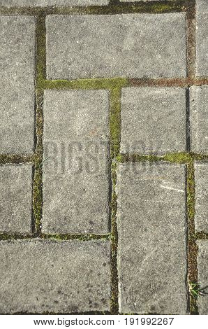 closeup of stone paving grey bricks on the sidewalk