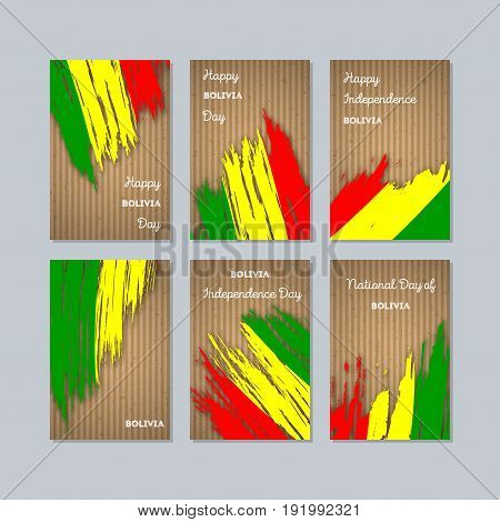 Bolivia Patriotic Cards For National Day. Expressive Brush Stroke In National Flag Colors On Kraft P