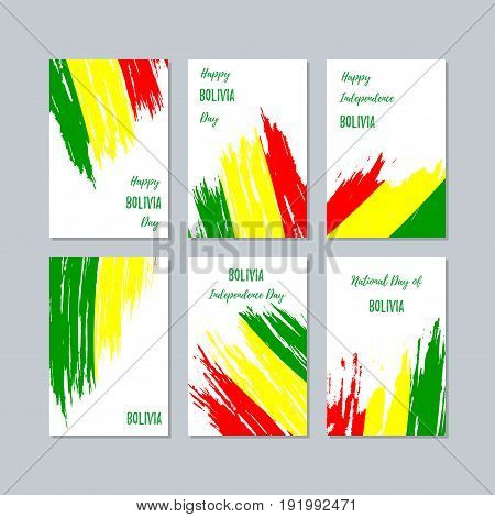 Bolivia Patriotic Cards For National Day. Expressive Brush Stroke In National Flag Colors On White C