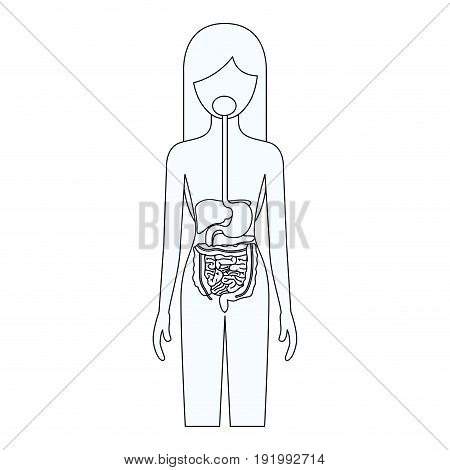 sketch silhouette of female person with digestive system human body vector illustration