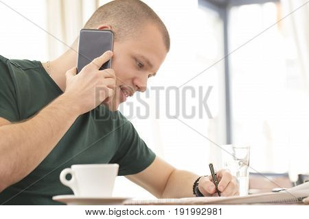 Talking Over A Mobile Phone And Looking For A Job For Himself