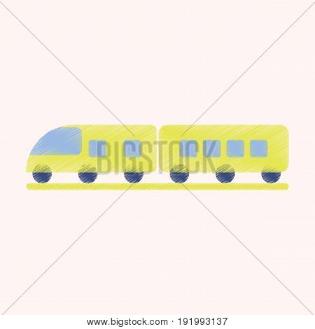 Flat Icon in Shading Style train transport
