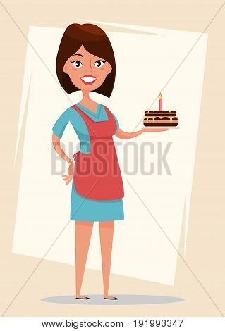 Woman holding tasty cake with burning candle for birthday. Cute cartoon character. Stock vector