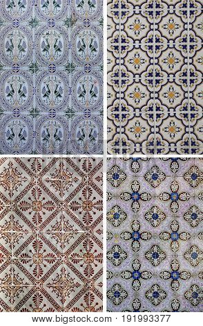Detail of some typical Portuguese tiles in Lisbon