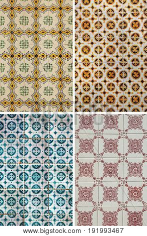 Typical ceramic tiles patterns from Lisbon, Portugal