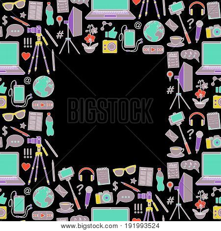 Blog object seamless frame on black background. Vector colorful wallpaper with blogging elements for covers, web banners, textile prints, mock ups.
