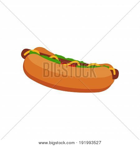 Hot dog grill with mustard sausage lunch snack meal grilled vector bun isolated on white background. American meat unhealthy fast food hot dog fatty barbecue sauce