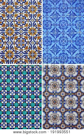 Set of four ceramic tiles patterns from Portugal