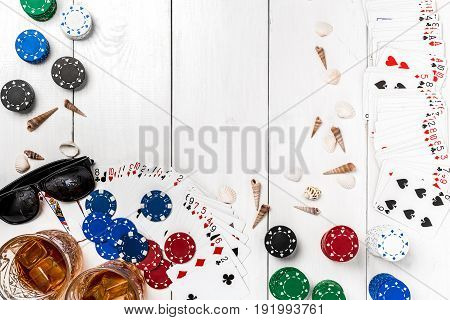 Post blog social media poker. View from above with copy space. Banner template layout mockup for online casino. Wooden white table, top view on workplace. Banner for online casinos and gambling