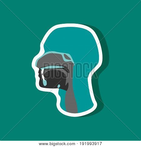 pharynx paper sticker on stylish background medical