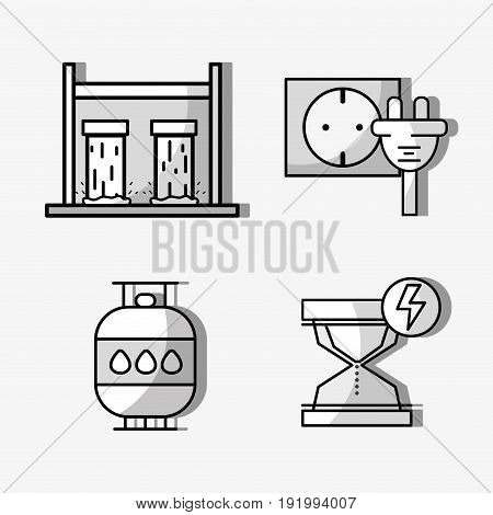 set hydraulic energy with elements icons vector illustration