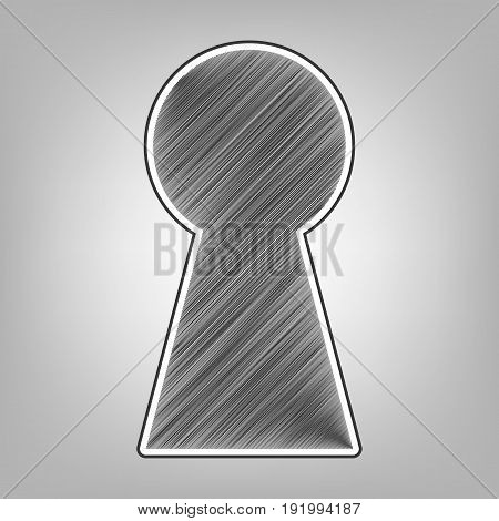 Keyhole sign illustration. Vector. Pencil sketch imitation. Dark gray scribble icon with dark gray outer contour at gray background.