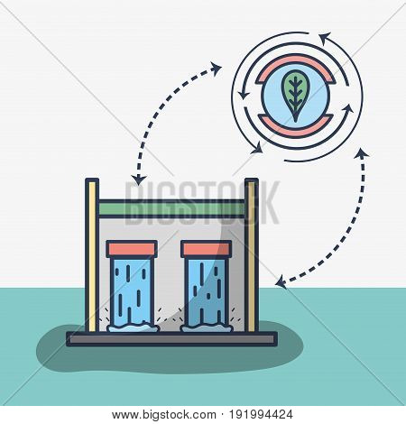 tanks to hydraulic energy around of water vector illustration