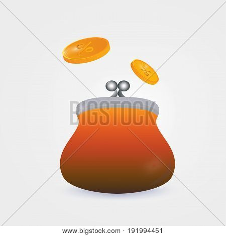 Wallet with falling coins isolated. Saving money concept vector illustration.