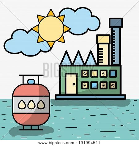 factory with thank hydraulic energy round of water vector illustration