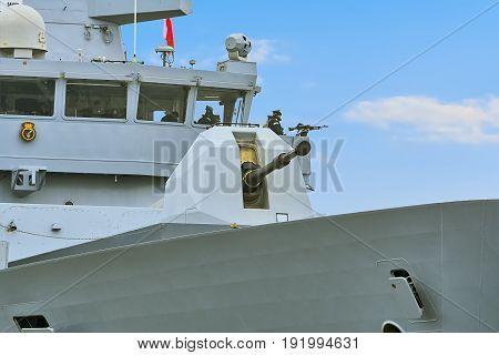 VARNA BULGARIA - April 29 2017: 4.5 inch Mark 8 Naval Gun System on the Board of HMS Daring During the Visit of Varna Port