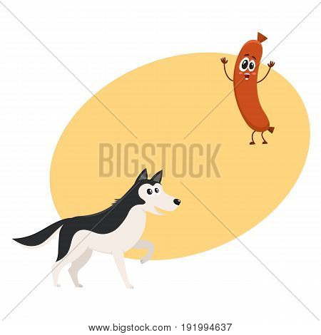 Cute black and white Husky dog and sausage characters, cartoon vector illustration with space for text. Funny husky dog and sausage character with human face and raised arms