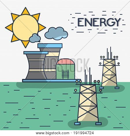 factory pollution with energy towers vector illustration
