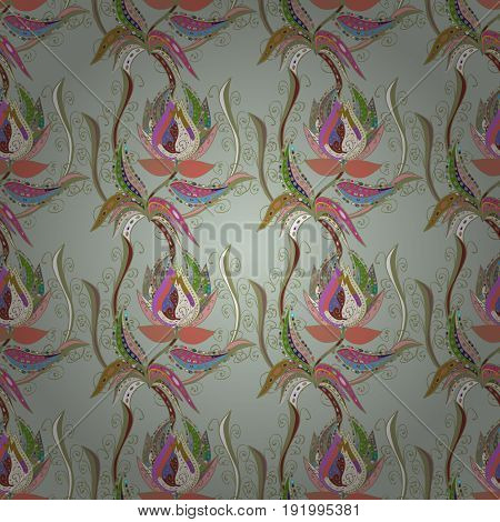 Varicolored vector seamless illustration. Tropical seamless pattern with many colorfil abstract flowers.