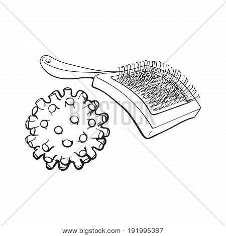 Pet, cat, dog accessories - hair grooming brush and rubber spiked bal, black and white sketch style vector illustration isolated on white background.
