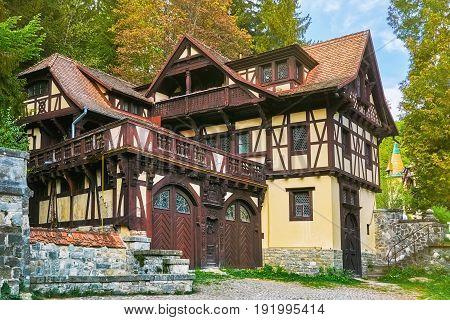 House near the Pelesh Castle in Sinaia Romania