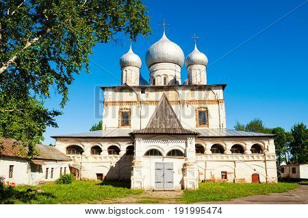 Architecture landscape of old cathedral of Our Lady of the Sign in Veliky Novgorod Russia architecture landmark in summer sunny day. Architecture view of Veliky Novgorod Russia