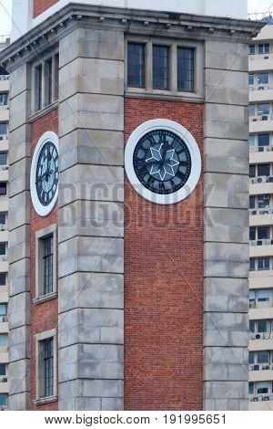 Clock tower Hong Kong landmark on the southern shore of Kowloon