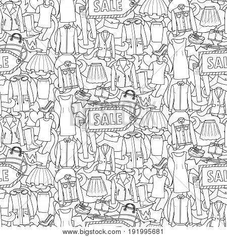 Seamless pattern of hand drawn woman clothes, shoes and bags on abstract wave background. Sale black and white wallpaper for coloring books, posters, textile prints.