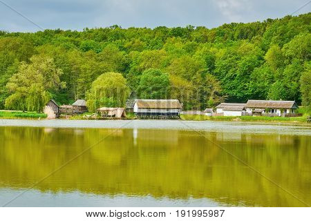 Village in Romania on a Bank of Lake