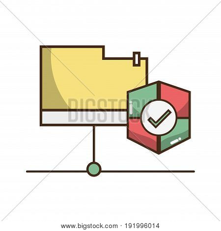 electronic file with shield symbol icon vector illustration