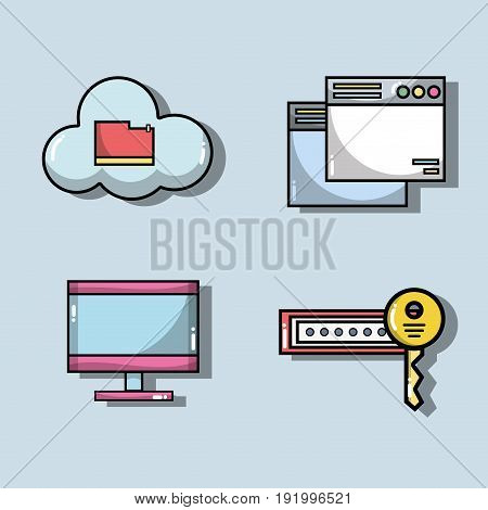 set technology elements with security icons vector illustration