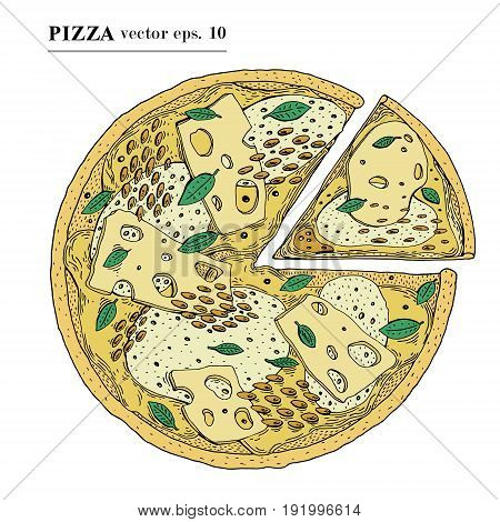 Italian Pizza with cheese hand drawn vector illustration. Can be use for pizzeria, cafe, shop, restaurant.