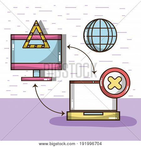 technology television and laptop with icons vector illustration