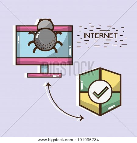 television with spider and shield icons vector illustration