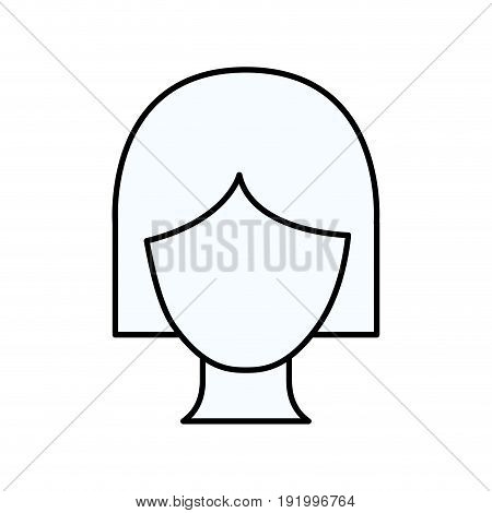 sketch silhouette of faceless woman with short hairstyle vector illustration