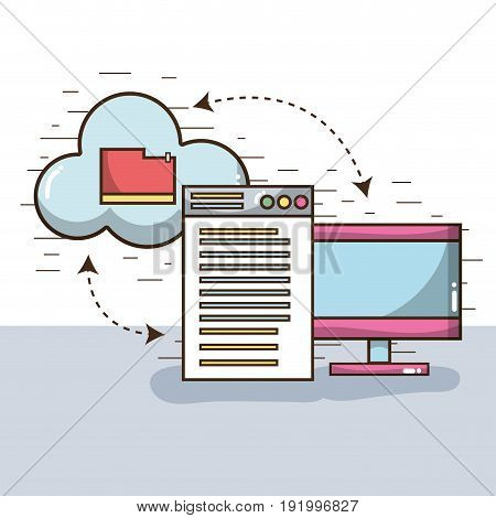 television with window and file inside cloud vector illustration
