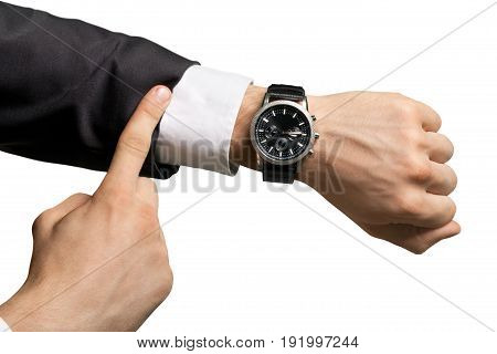 Business man watch hand pointing businessman close up