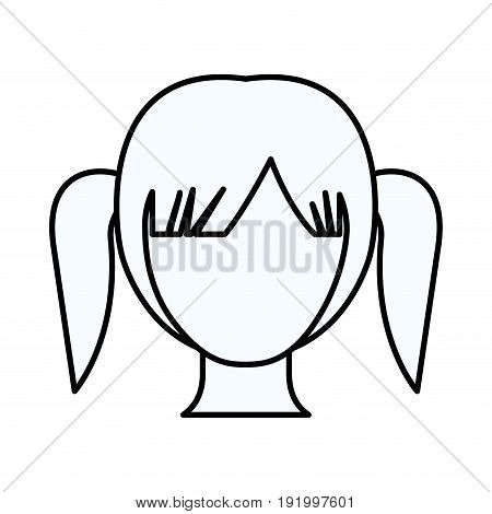 sketch silhouette of faceless girl with high pigtails hairstyle vector illustration