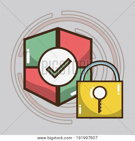 technology shield and padlock services icons vector illustration