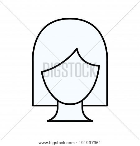 sketch silhouette of faceless woman with short hair vector illustration