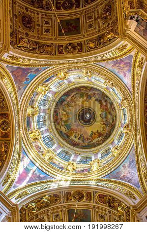 RUSSIA Saint-Petersburg - JULY 20 2013. Interiors of St. Isaac's Cathedral