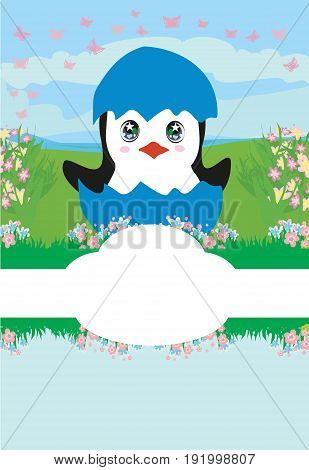 Cute Penguin Baby Shower card , vector illustration