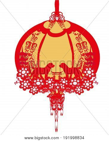 Chinese zodiac the year of Dog - frame , vector illustration