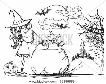 Halloween witch preparing potion - doodle illustration