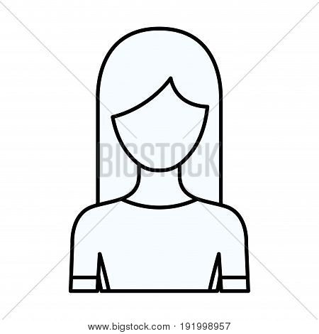 sketch silhouette of faceless half body woman with long hairstyle vector illustration