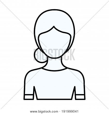 sketch silhouette of faceless half body woman with bun collected hairstyle vector illustration