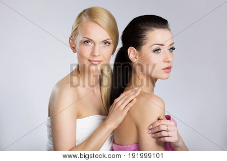 Two Young Beautiful Women In Towels