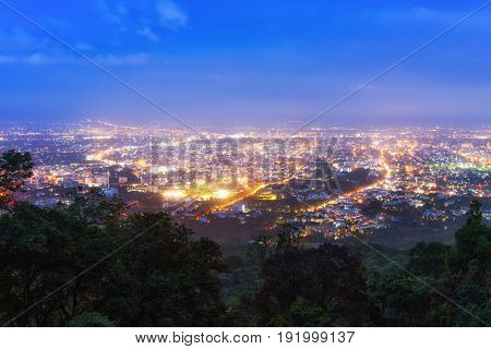chiang mai night view on view point of doi suthep chiang mai thailand